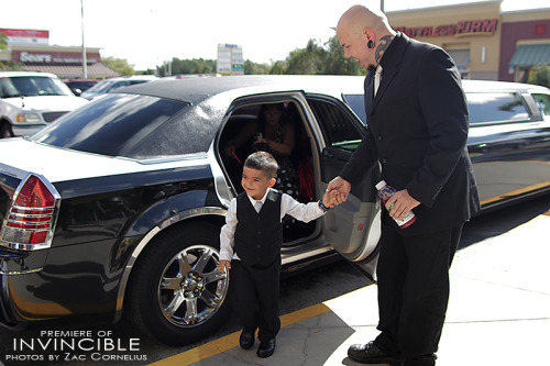 My son, Geo, stepping out of the limousine toward the red carpet for the premiere of our film, Invincible.