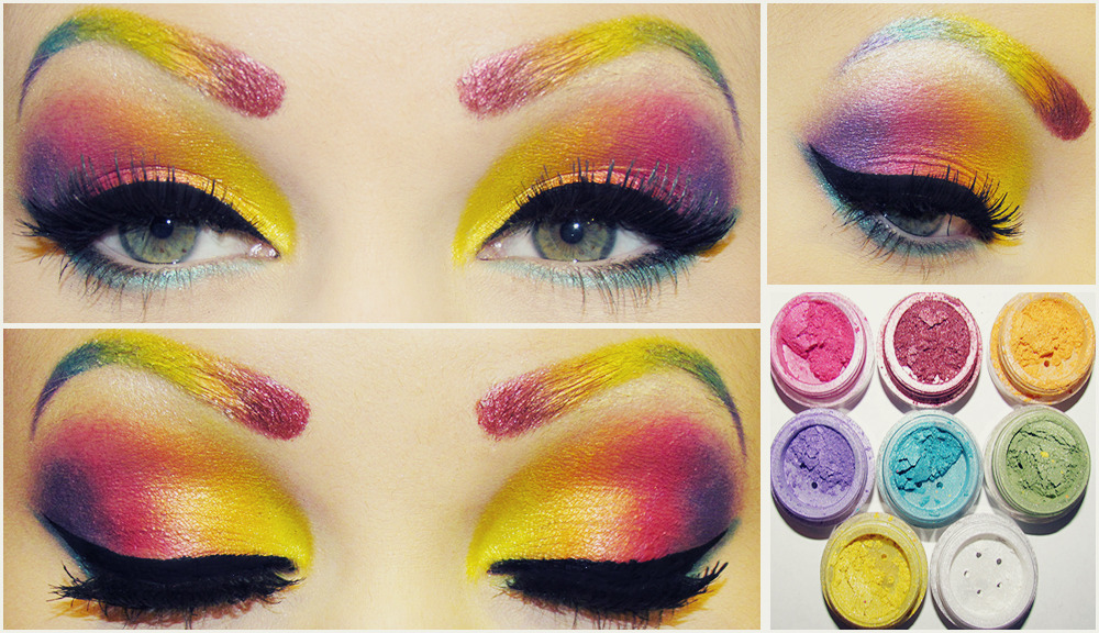 happyhues:  Rainbow eyes and eyebrows! (via JessieBlush | Beautylish)