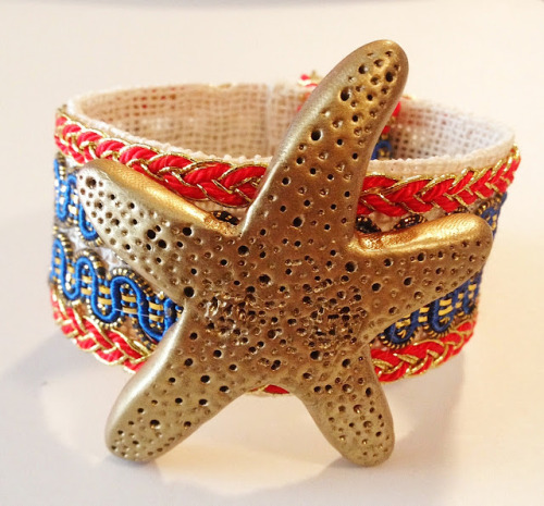 DIY Polymer Clay Starfish Bracelet Tutorial From V Juliet here. I posted another polymer clay starfish cuff (a Bimba and Lola knockoff) where you make a mold from a real starfish and then use polymer clay here.