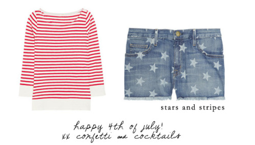 For the fourh of July I kept it patriotic in a red and white striped J.Crew sweater and these fun star-printed Current/Elliott shorts. What did you wear for July 4th? Stay safe!