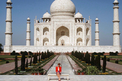 "heapofhistory:   Princess Diana at the Taj Mahal in 1992. What's funny about this picture (i.e. why it's famous) is that Diana was at the world's greatest monument to love alone, without her husband, Prince Charles. 1992 was the year Queen Elizabeth II dubbed annus horibilis, which means ""horrible year"" in Latin. Despite it being the year that closed with a fire at Windsor castle, it was the year Diana and Charles' marriage crumbled and the year Fergie and Andrew announced their divorce. Not a good situation for the Queen of the Commonwealth to be in."