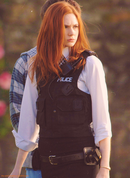 "amypondslovelyblog:  I think I was a good ""police officer"". Heh. The Doctor seemed to believe it.    so fierce."