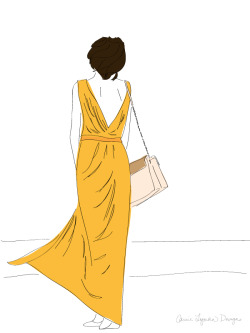yellow dress girl - illustration
