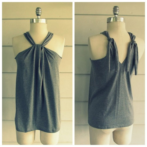 DIY Tee Shirt to No Sew Halter Top Tutorial from Wobisobi here. *For lots more really easy tee shirt restyles and jewerly projects that I've posted from Wobisobi go here:  truebluemeandyou.tumblr.com/tagged/wobisobi