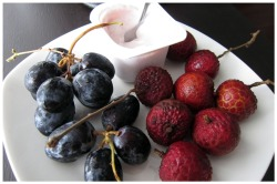 Raspberry yogurt, grapes, and lychees!  Healthy breakfast to counter all the bad food I've been eating due to stress lately.