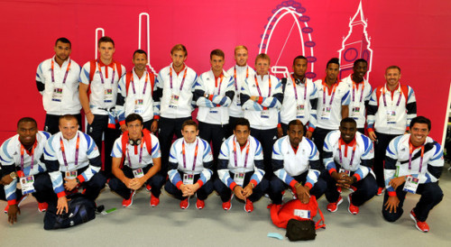 beneaththepool:  The Great Britain Olympic football team pose in the reception area of the Athletes' Village. Getty