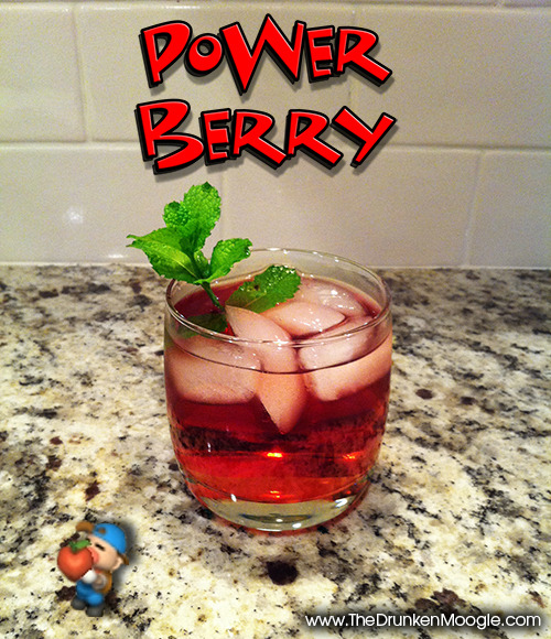 thedrunkenmoogle:  Power Berry (Harvest Moon cocktail) Ingredients:1.5 oz. Spiced rum.5 oz Coconut rumFill with Cranberry juiceSprig of mint  Directions: Pour spiced rum and coconut rum in a lowball glass over ice.  Add cranberry juice to fill and stir. Add a sprig of mint as a garnish. Drink up and gain more stamina! (Note: the mint is purely for decoration. I would not advise mixing the mint with the drink.) Drink created and photographed by Mitch Hutts of The Drunken Moogle.