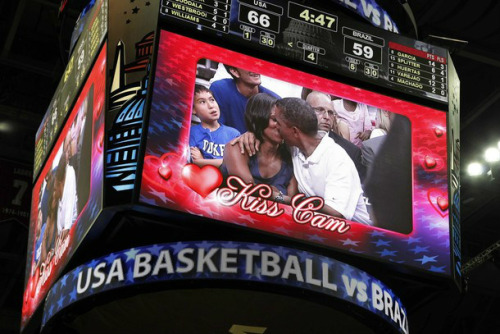 Barack & Michelle Obama appeared on the Kiss Cam at USA vs. Brazil July 16, 2012, Verizon Center, Washington, DC