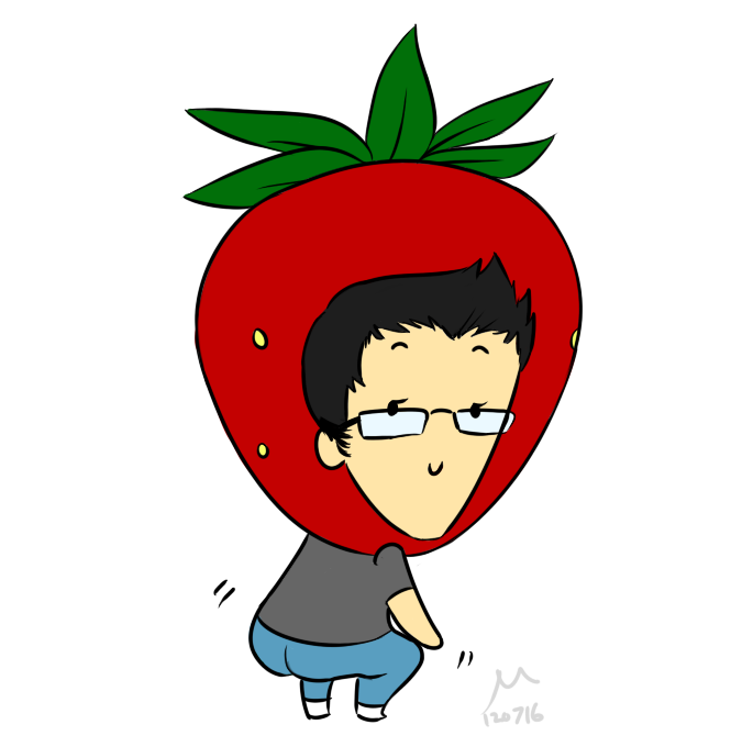 I told Michael I was going to draw him as a strawberry and he said he'd use the picture on Mumble and Skype.