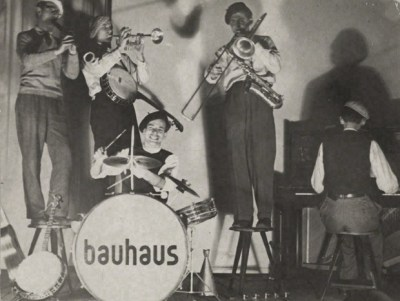 Bauhaus band performing, Dessau, circa 1928. Photo by T. Lux Feininger. Where's Peter Murphy?