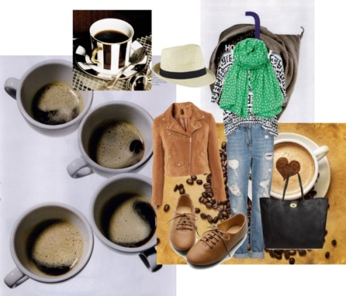 cozy coffee date by magbabe featuring a suede jacketZena tribal print shirt, $44 / H&M suede jacket, $46 / Oxford shoes / Mulberry leather handbag / Becksöndergaard cotton scarve, $39 / Hat