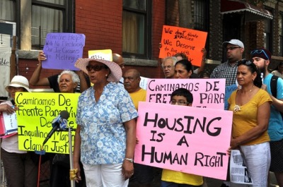 "suzy-x:  Brooklyn women make their building theirs  The rent strike started two years ago when Sara Lopez woke up early one morning. No one sleeps much in these three buildings — in the winter there's no heat, in the summer there's no electricity, and all year there are rats and cockroaches scurrying in the walls — but that morning Lopez had slept even worse than usual, and she was mad. ""I thought and thought and decided that I needed to do something,"" she said. ""So I knocked on 51 doors because I got mad of so much injustice."" At each door she and Trelles spread a clear message: Stop paying rent. It wasn't an idea born out of an ideology regarding private property or capitalism or self-governance. Instead, Lopez — a retired public employee who says she still has faith in the power and intentions of the local government — was espousing a radicalism born from necessity and experience. She knew that tenants could run the buildings better than Petito, whom she called un payaso, which means ""clown"" in Spanish but sounds far more poisonous than that when hissed in her Honduran accent. In the winter of 1982, after a former landlord simply abandoned the buildings without heat, Lopez brought the buildings' families together, and they governed themselves — collecting money to pay the bills and replace the boiler, and forming teams to clean the hallways, put the trash out and make repairs.  Read the article in its entirety, it's so good. These ladies know what's up.  Freaking beautiful. organize and take control of your own community."