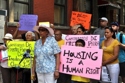 "suzy-x:  Brooklyn women make their building theirs  The rent strike started two years ago when Sara Lopez woke up early one morning. No one sleeps much in these three buildings — in the winter there's no heat, in the summer there's no electricity, and all year there are rats and cockroaches scurrying in the walls — but that morning Lopez had slept even worse than usual, and she was mad. ""I thought and thought and decided that I needed to do something,"" she said. ""So I knocked on 51 doors because I got mad of so much injustice."" At each door she and Trelles spread a clear message: Stop paying rent. It wasn't an idea born out of an ideology regarding private property or capitalism or self-governance. Instead, Lopez — a retired public employee who says she still has faith in the power and intentions of the local government — was espousing a radicalism born from necessity and experience. She knew that tenants could run the buildings better than Petito, whom she called un payaso, which means ""clown"" in Spanish but sounds far more poisonous than that when hissed in her Honduran accent. In the winter of 1982, after a former landlord simply abandoned the buildings without heat, Lopez brought the buildings' families together, and they governed themselves — collecting money to pay the bills and replace the boiler, and forming teams to clean the hallways, put the trash out and make repairs.  Read the article in its entirety, it's so good. These ladies know what's up."