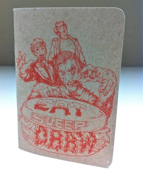 Limited Edition EatSleepDraw Mini Pocket sketchbook: Zomburger Edition We only printed 250 of these babies. When they're gone, they're gone for good.  Individually numbered, so you know it's authentic. 3.5″W x 5″H , perfect for your pocket! 32 blank pages  100% recycled chipboard cover, 100% recycled blank 70# white paper inside Offset printing with soy-based inks Free global shipping. Get your sketchbook here.
