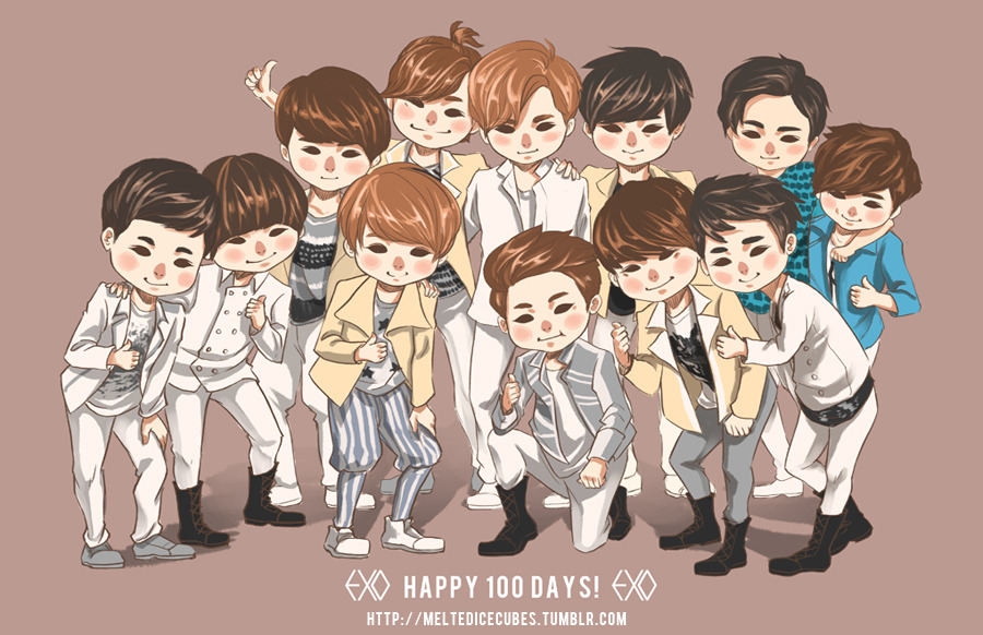 Happy 100 Days to EXO! :D May there be more and more 100 days! Ahhh this was so rushed because 1-there's so many of them to draw, and 2-I wanted to post this before today was over. I can't wait til Happy Camp with OT12 airs! ALSO, to celebrate 100 days with EXO, I'm putting all of my EXO and other kpop buttons on sale over at my store: madebybing.com If you enter code EXO100DAYS, you can get 10% off both of the EXO button sets and any of the other kpop button sets! :D This will last one week only, so after midnight of July 23, the code will no longer work, so get these buttons while you can!