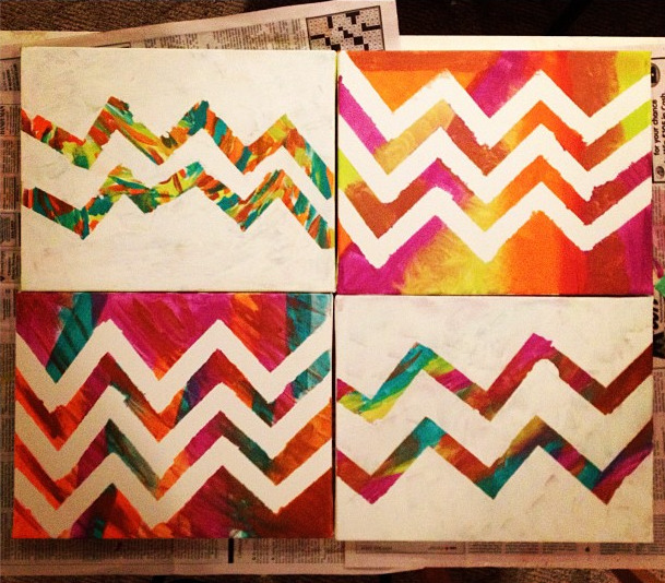 filipinafemme:   DIY CHEVRON PRINT WALL ART~ i made these with my niece earlier today and it was easy, fun, and incredibly affordable! it was a great bonding experience for us and now i'll have some cute + sentimental pieces of art to hang when i move into my own apartment. :3 it's also a great form of self-care, if that's part of your routine. here's all you need —  canvas boards, whatever size you want! acrylic paint, whatever colors you want! painter's tape white acrylic paint paintbrushes  when i went to hobby lobby, canvas boards were on special sale (2 packs for under $5) and acrylic paint is always around $1 per bottle. here is a link, additionally, to a coupon for 40% off any regular priced in-store item there. i used it for the painter's tape and my total for ALL materials was just under $15! that's a ridiculous steal for four pieces of art that take virtually no time to make.  for these four boards, i purchased five different paints (turquoise, lime green, orange, purple, and a metallic bronze). i used the bronze in each board, but left out one of each of the other four colors out on the four boards so that each would have its own color scheme but they'd all coordinate with one another when they were finished!  pictured above are two kinds of chevron print wall-art you can make. the top right and bottom left are the quicker version —   take the painter's tape and tape out the chevron pattern on the board. go nuts with the paint! just paint what feels nice to you.  wait about a half hour once you paint, and then peel off the tape. voila! done!   for the other two boards (the top left and bottom right—can you tell which one my ten-year old niece put down the tape for? ha ha), it takes a bit longer, but not much!   no need to lay the painter's tape down right now. paint away! again : whatever colors you want, whatever pattern you please. wait for the paint to dry for about a half hour. start a load of laundry, take a nap, whatever! NOW it's time to put down the painter's tape. paint over the entire board with white paint.  wait for it to dry for about a half hour, peel off the tape, and you're done!   now all that's left to do is choose where to hang your finished masterpiece. ^__^ hope you try it out, and let me know if you have any questions!
