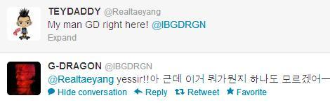 Confirmed by Taeyang's official twitter, G-Dragon is now on Twitter! Follow him  @IBGDRGN