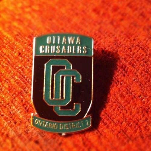 Pin I designed in about 45 minutes for a rush job for the Ottawa Crusaders.  (Taken with Instagram)