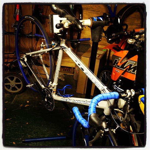 A little shop time after work has @WBZN's new cx bike up and running. #clayroadfuture (Taken with Instagram)