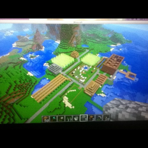 my mine craft survival world it has many handy thing a storage building (the unfinished one), a cobblestone generator (the wood one), sheep and chicken fields, cactus fields, sugar fields, wheat field, and a nether portal. That makes sense to most people that play mine craft, sorry if you don't… #minecraft #project #gaming  (Taken with Instagram)