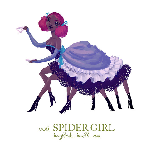 have a spider girl for day 6! i've given up on getting these up before midnight. all this week my prime time for working on/posting these is being taken up by vbs so…yeah.