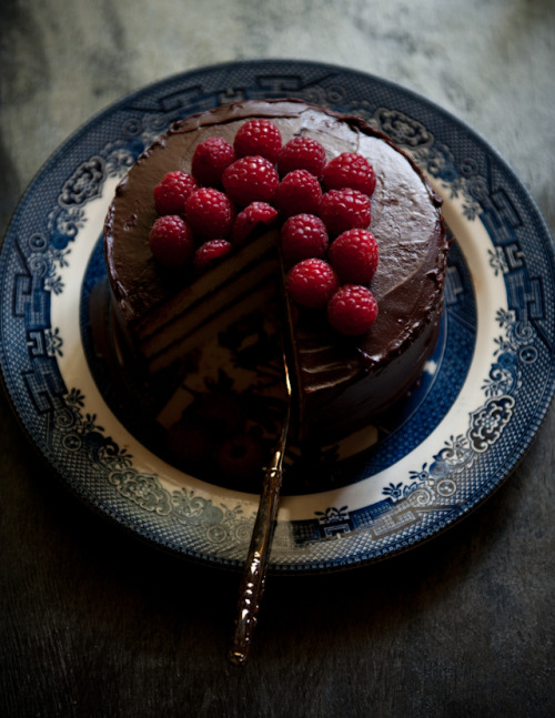 foodopia:  coconut chocolate cake with raspberries: recipe here