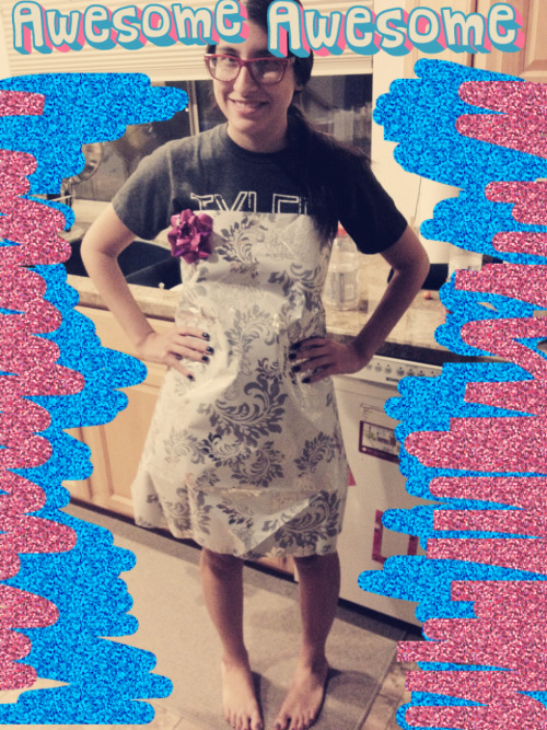 glerbrot:  totally normal night where I wear a dress made of wrapping paper  Liz is an outstanding citizen, guys.