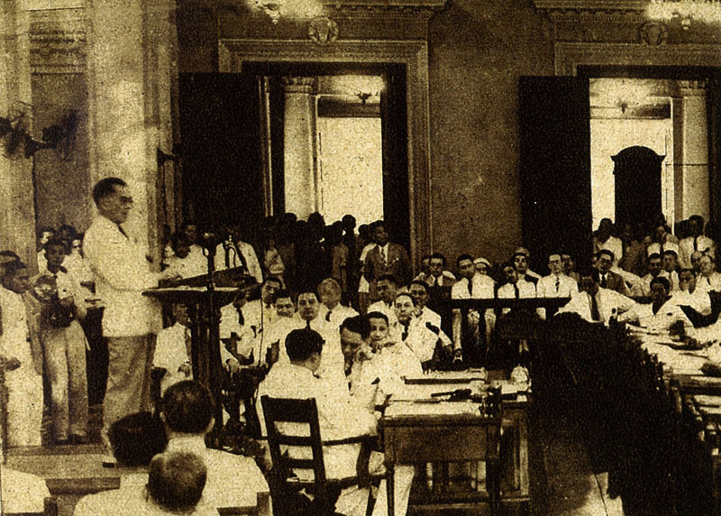 malacanan:  President Manuel L. Quezon addresses the National Assembly on October 18, 1937, with a speech remembered to this day for its theme on social justice.  Our people are patient and law-abiding. They love peace. They have not lost their faith either in the executive, the legislative, or the judicial branch of the Government. As the Government is now in the hands of their own countrymen, they have become hopeful and are placing the realization of their dream for a better day in our clearer understanding of their lot, our better knowledge of conditions prevailing in the country, and in what should be the natural craving of our hearts to serve them with all the power at our command—they who are flesh of our flesh and blood of our blood.  ——— The State of the Nation Address: Traditions and History. The State of the Nation Addresses.