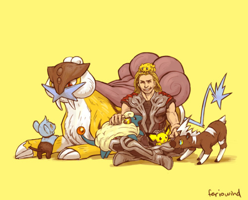 feriowind:  Thor's team! Following the idea that Pokemon are very rare on Asgard, Thor never had a Pokemon until his later years when he became a full-fledged warrior and bested Raikou in combat, thus gaining it's respect and companionship. It's not until he gets to Midgard that he gains a large posse of baby electric types that were attracted to him because of the static he gives off. Thor found Joltik one morning latched to his head while in bed. Shinx started following him after a fight in a forest. Pichu was found clinging to his cape during a walk through Manhattan. Mareep appeared one night while Thor was out stargazing with Jane in a field. Thor also found Blitzle (or more like Blitzle found Thor) in a field, except it was in the morning and Thor had crash landed after a fight. So basically Thor is a mommy and Raikou helps out with the parenting. Aaand next up is Hawkeye!