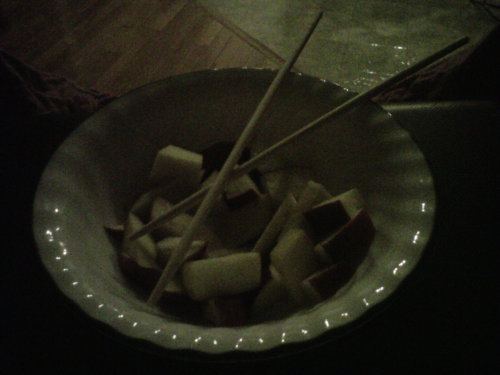 snack. midnight apple dices. sorry for posting food. i hate it when people do it too, sometimes im a hypocrite..:/