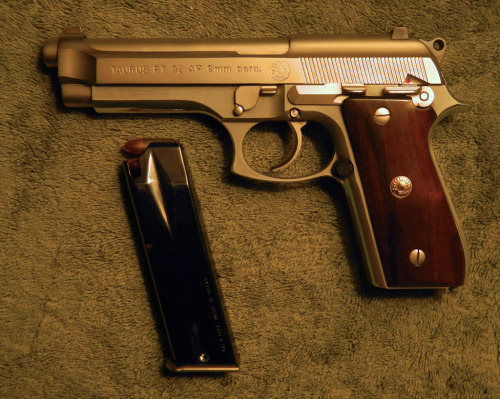 Meanwhile, at Taurus… My Taurus PT92 AF, in pimped out stainless finish (or Inox if you have a Beretta). Either way, it's a stainless steel 9mm beauty and it shoots like a champ.