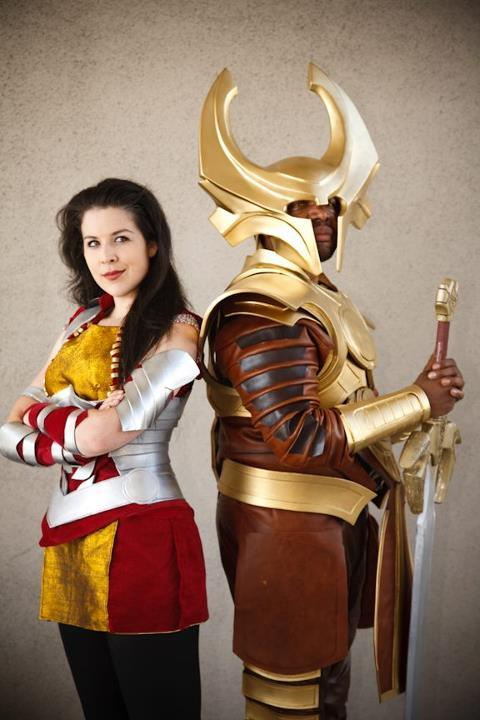 Lady Sif and Heimdall Get ready for some photo spam in the next few days, I'm super proud pants of these costumes. I did all of Sif and then the leather bits on Heimdall. The costume (armor and helmet) is by https://www.facebook.com/SoloRoboto and the sword was https://www.facebook.com/KommissarProps Thanks Dave Lucchesi for the awesome shot!