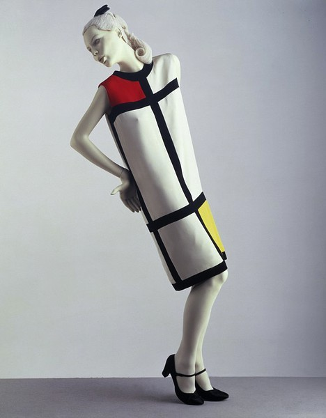 YSL 1965, silk crepe color-block dress.