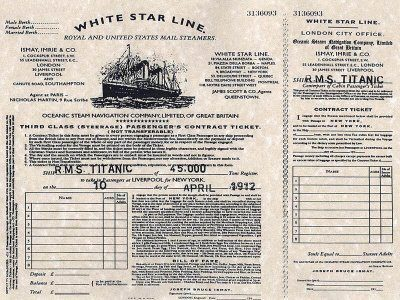 ORIGINAL TITANIC TICKET