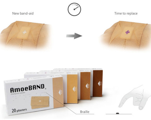 "azuritereaction:  alexob:   AmoeBAND became a 2012 IDEA Award Finalist by innovating every possible aspect of the plaster (band aid). The design revisions were:   - Strategic cut-outs shape to fit fingers in such a way that it is easy to bend them and not disrupt the bandage. - An intelligent dressing material allows you to regularly check wounds from the outside, without upsetting the healing process.""According to research, the when an infection of a wound is detected, the pH value is between 6.5 and 8.5. AmoeBAND's indicator cross turns purple, alerting the user needs to change it immediately."" - Since the bandage material used exudes a leather-like feel, availability in different skin-tones helps it blend in, without overly highlighting the injury. - The packaging has been redesigned to a matchbox style and includes Braille instructions. Hat tip to designers Tay Pek-Khai, Hsu Hao-Ming, Tsai Cheng-Yu, Chen Kuei-Yuan, Chen Yi-Ting, Lai Jen-Hao, Ho Chia-Ying, Chen Ying-shan, Weng Yu-Ching, and Chung Kuo-Ting   it's always funny when people improve on something and you look at the innovations and it's like so fucking obvious what needed to be changed, but yet no one seemingly thought of it until then, yourself included  Makes me think of this quote from Douglas Adams- It is a rare mind indeed that can render the hitherto non-existent blindingly obvious. The cry 'I could have thought of that' is a very popular and misleading one, for the fact is that they didn't, and a very significant and revealing fact it is too."