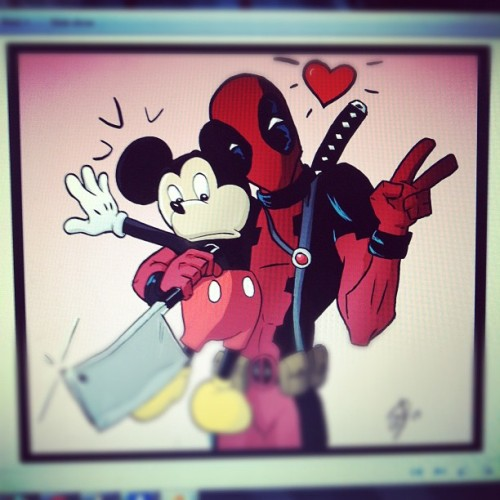 Deadpool seems like a big Mickey Mouse fan :P #marvel #disney #deadpool #mickeymouse (Taken with Instagram)