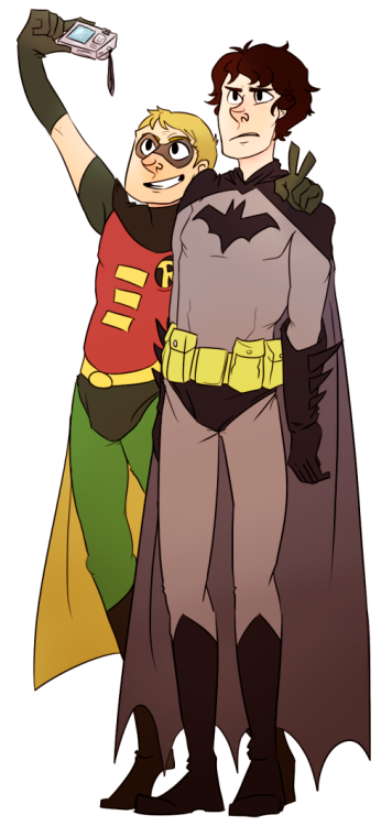 "butyoumakemehappy asked you: Sherlock and Watson dressed as Batman and Robin!  ""put on the hood, it's gonna be so funny we are so sending this to mrs. hudson"""