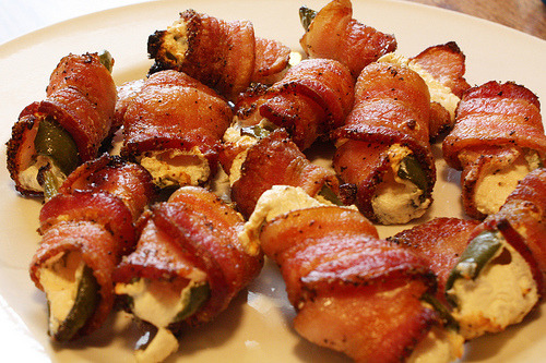 cravingsforfood:  Bacon-wrapped Jalepeno peppers.