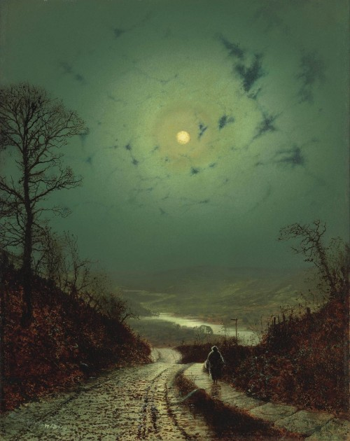 mirroir:  Moonlight, 1871 John Atkinson Grimshaw