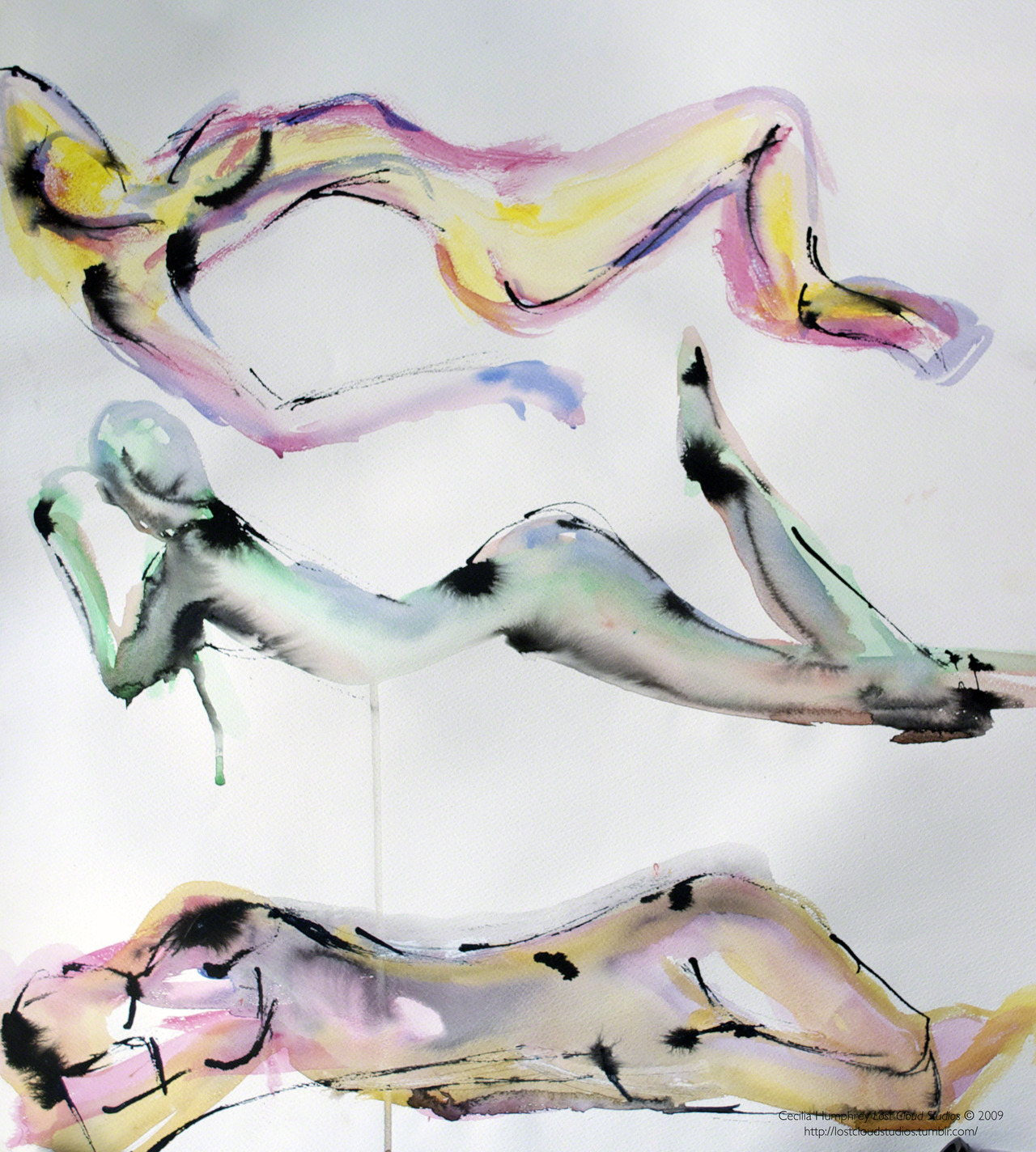 Nude Wash Studies(2009) Cecilia Humphrey. Watercolour on Canson Paper.