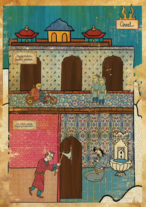 iconoclassic:  Murat Palta: The Shining (via It's Nice That : Worship cult films? Check out Murat Palta's oriental cinematic miniatures)