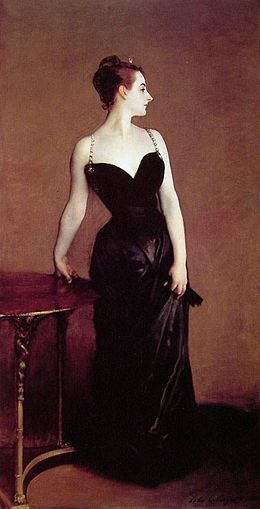 "Portrait of Madame X by John Singer Sargent, 1883 From the Met: Madame Pierre Gautreau (the Louisiana-born Virginie Amélie Avegno; 1859–1915) was known in Paris for her artful appearance. Sargent hoped to enhance his reputation by painting and exhibiting her portrait. Working without a commission but with his sitter's complicity, he emphasized her daring personal style, showing the right strap of her gown slipping from her shoulder. At the Salon of 1884, the portrait received more ridicule than praise. Sargent repainted the shoulder strap and kept the work for over thirty years. When, eventually, he sold it to the Metropolitan, he commented, ""I suppose it is the best thing I have done,"" but asked that the Museum disguise the sitter's name."