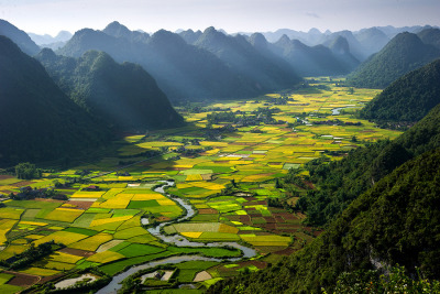 Morning in the valley in Vietnam
