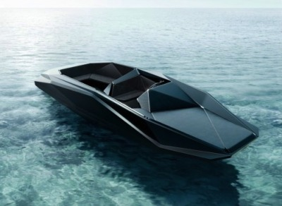 "Zaha Hadid's Z Boat   Commissioned by art dealer Kenny Schacter, ""The asymmetrical design is sculptural in appearance while practically affording more seating accommodations. In a sense, the bespoke boat is as much a work of art as a Cisitalia sports car in the permanent collection of the Museum of Modern Art in New York. The idea is to think of vessels and vehicles as highly individualistic expressions of art, architecture and design reflecting the edge of what is possible using the most advanced means, including materials, software systems and methods of fabrication."" - Zaha Hadid"