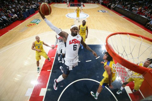 TEAM USA BEATS BRAZIL LeBron James scored 30 points and the U.S. rallied from an early 10-point deficit to beat Brazil 80-69 on Monday night in its final exhibition game on home soil. Obama and Vice President Joe Biden watched the Americans get off to a dismal start, then turn it around by holding the Brazilians to two baskets in the second quarter. @TheTripleDouble