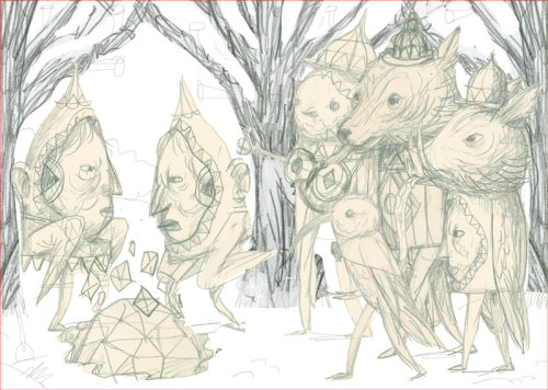 showchicken:  Messy first attempt at a concept sketch for nobrow 7 piece. I started drawing a finished version of this, but later abandoned because I didn't like how the overall shapes of the characters weren't strong enough (hours of graphite disco a-wasted). Also there were certain shapes that didn't play nice. And the face-characters were a bit, um, shit. You can see the finished piece here: http://www.flickr.com/photos/showchicken/7542863492/
