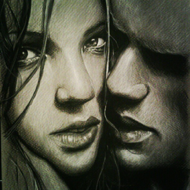 THIS TOOK WAAAY TOO LONG! Anyhow…charcoal on grey scale paper.  Inspired by Marcus Ohlsson photography #art #artists #artist #sketch #draw #drawing #charcoal #lowbrow #portraiture #portrait #couple #fashion #face (Taken with Instagram)