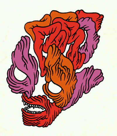 orange gut face, 2012