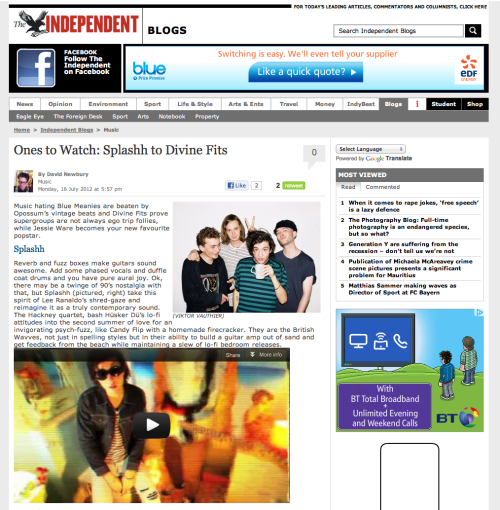 Splashh have been listed as one of the Independent's bands to watch. You can see the full list here
