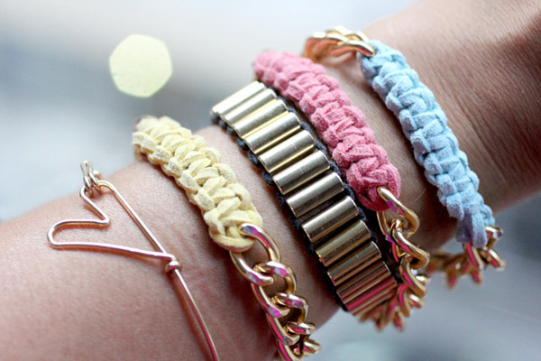 Chain Bracelet | I Spy DIY for Refinery 29 I'm pretty sure the knotting in this project is macrame - if someone knows please comment! Anyway, irregardless of what type of knotting this is, it's adorable! If you don't want to use suede or can't find it, you could use thick cord, cotton thread, or even that plastic cord you made bracelets out of when you were a kid!